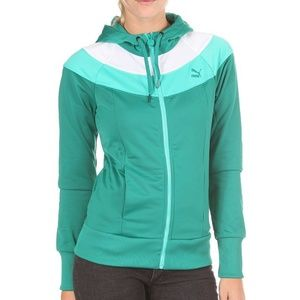 PUMA Green Colorblock Hooded Track Jacket Small